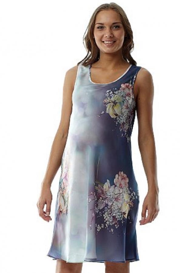 6151.4043 Платье -туника свободного силуэта голубой принт