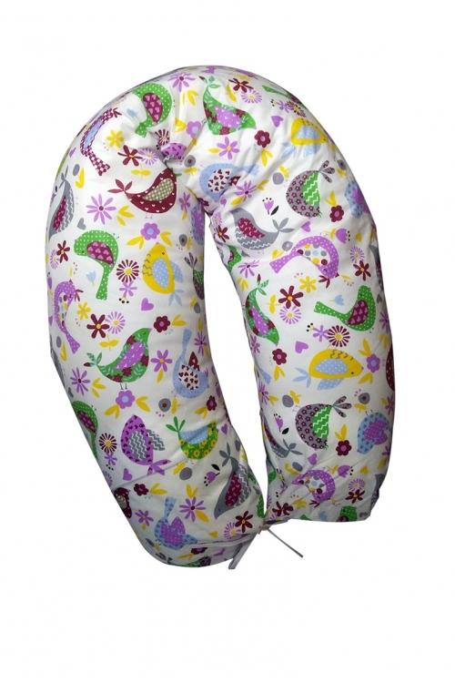 03 - Подушка многофункциональная для беременных и кормящих женщин (фиолетовые/птички)