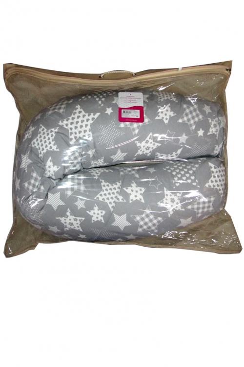 03 - Подушка многофункциональная для беременных и кормящих женщин (серый-звезды)