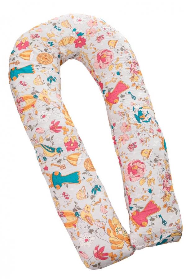 04 - Подушка многофункциональная 3 метра для беременных и кормящих женщин (темно-розовый/серо-голубой/птицы)