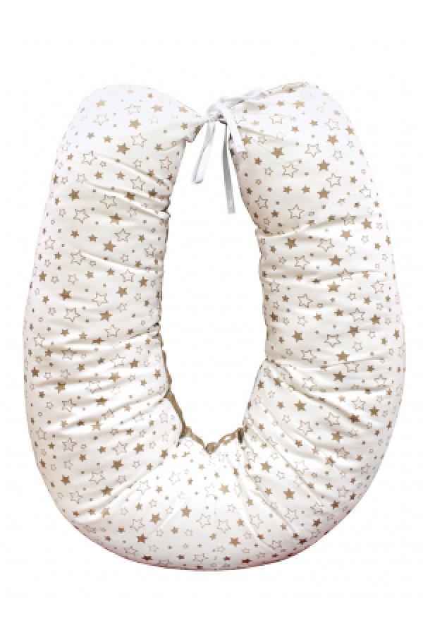01 - Подушка многофункциональная  для беременных и кормящих женщин (коричневый-белый-звезды)