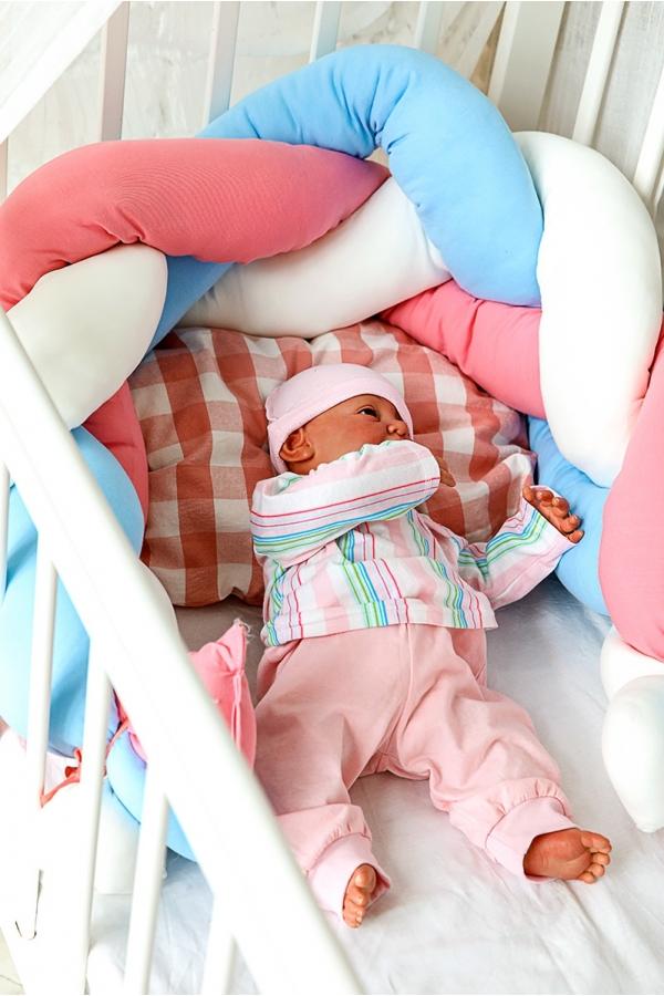 Подушка-коса  многофункциональная белый/голубой/розовый