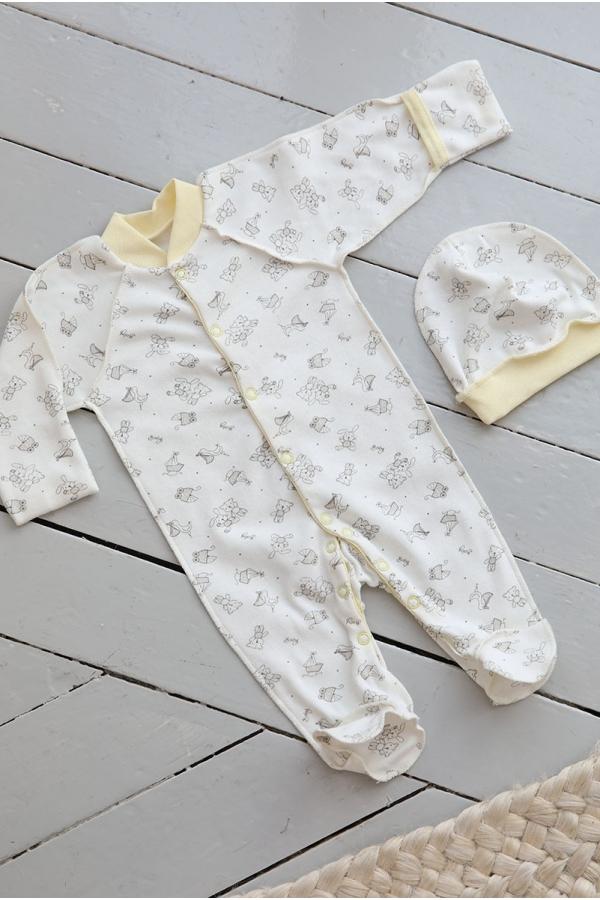 КДС 2/1 Комплект детский стерильный (комбинезон, шапочка) молочный/жёлтый