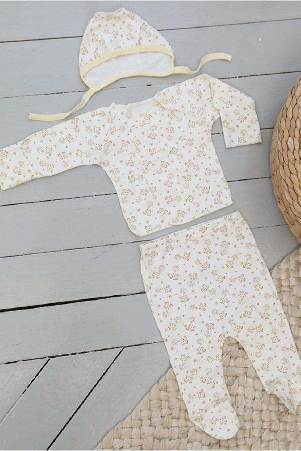 КДС 1/1 Комплект детский стерильный (ползунки, распашонка,чепчик) молочный/коричневый