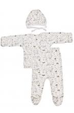 КДС 1/1 Комплект детский стерильный (ползунки,распашонка,чепчик) молочный/салатовый