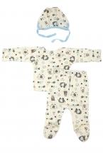 КДС 1/1 Комплект детский стерильный (ползунки,распашонка,чепчик) молочный/светло-голубой