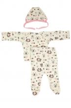 КДС 1/1 Комплект детский стерильный (ползунки,распашонка,чепчик) молочный/светло-розовый