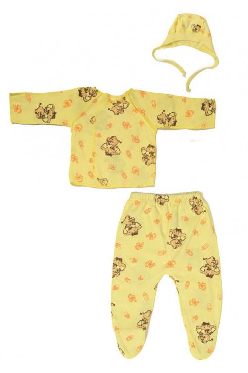 КДС 1/1 Комплект детский стерильный (ползунки,распашонка,чепчик) жёлтый/коричневый/оранжевый
