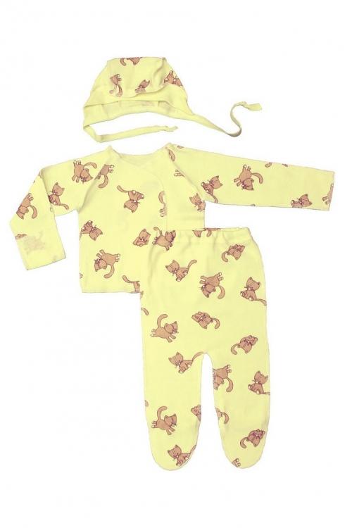 КДС 1/1 Комплект детский стерильный (ползунки, распашонка,чепчик) желтый/коричневый