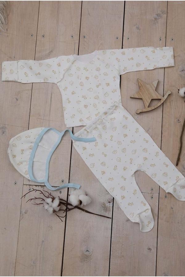 КДС 1/1 Комплект детский стерильный из 3-ёх предметов молочный/светло-коричневый/голубой