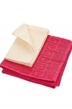 КП-010 Стерильный комплект полотенец: махровое + вафельное малиновый/молочный