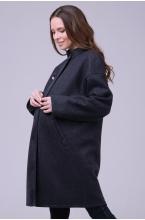 1103.7223 Невероятно стильное двухстороннее пальто в стиле oversize с декоративной брошью серо-синий