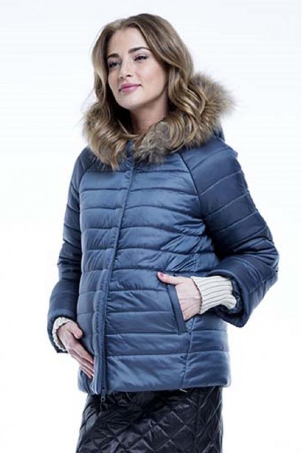 Куртка зимняя ALISIYA с капюшоном и съёмной вставкой с натуральной опушкой атлантик