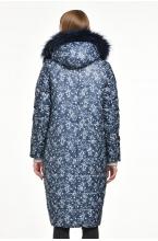 Зимнее пальто MISHELJ  с натуральной опушкой синий принт