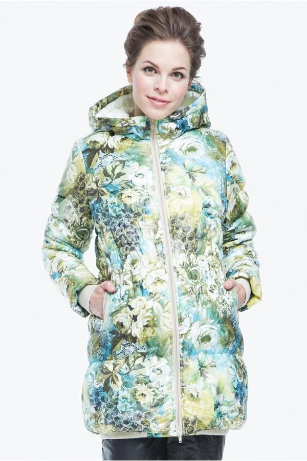 Куртка зимняя ALEKSANDRA удлиненная с капюшоном цветочный принт
