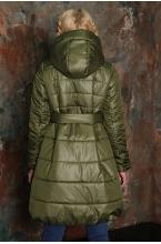 Куртка зимняя под поясок ANGELINA оливковый