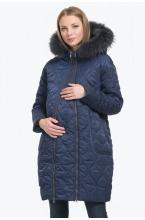 Пальто зимнее BELLA с натуральной опушкой черничное