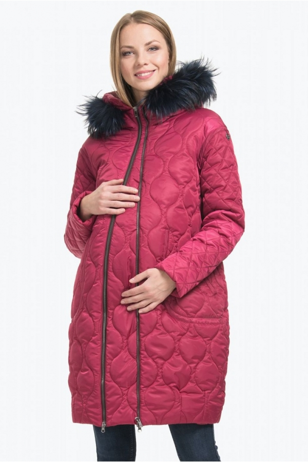 Пальто зимнее BELLA с натуральной опушкой ягодное