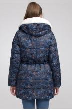 Зимняя парка А-образного силуэта DALI принт синий