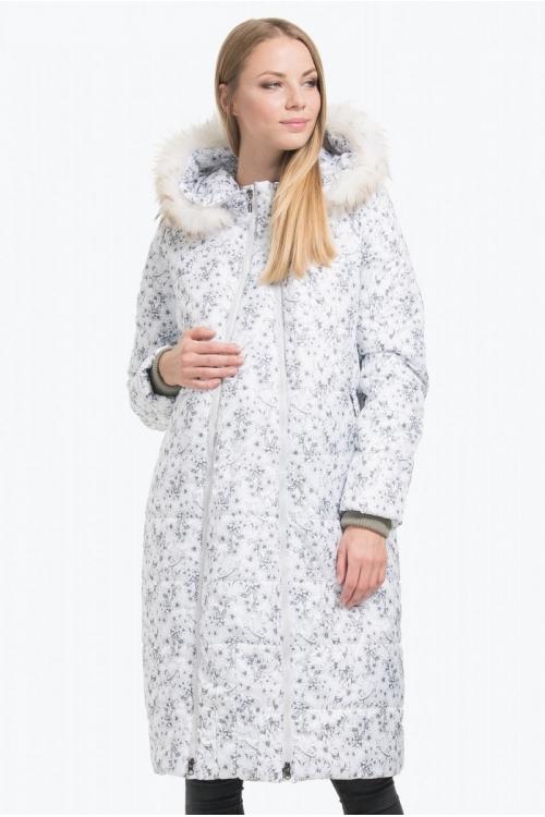 Пальто прямого силуэта MISHELJ белый принт