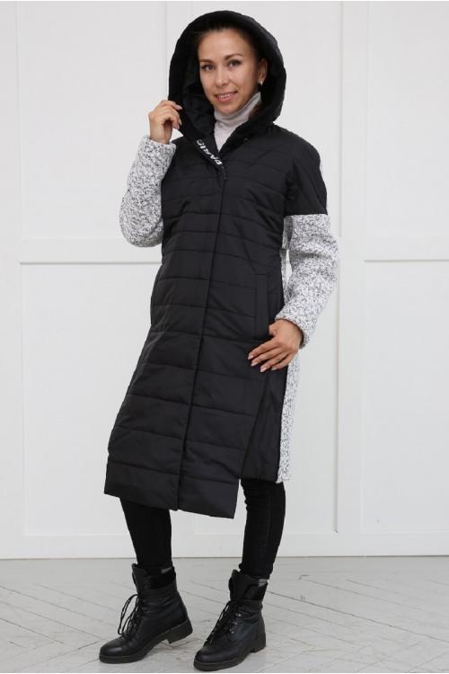 Модное утеплённое комбинированное пальто MIRA черно-белый
