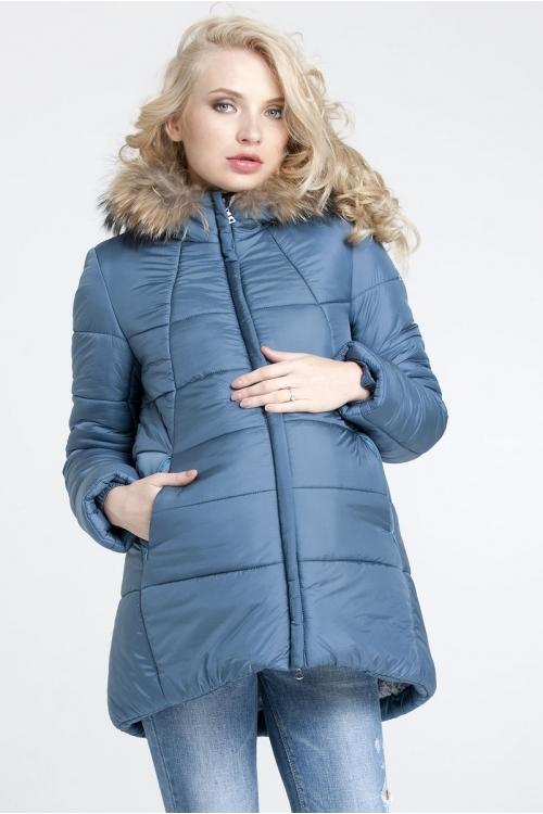 Куртка А-образного силуэта с ассиметричным низом SILJVIYA океан