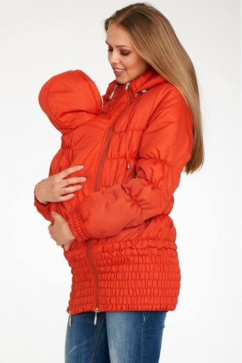 Слингокуртка для мамы и малыша с 2-мя вставками на живот оранжевый